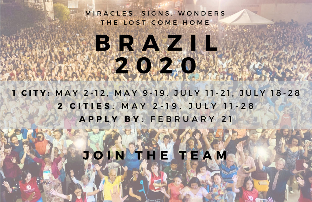 We're headed back to Brazil in a few months and we want YOU to join us!!  BRAZIL 2020 - Join the Team  1 City: May 2-12, May 9-19, July 11-21, July 18-28 2 Cities: May 2-19, July 11-28 Apply by: February 21